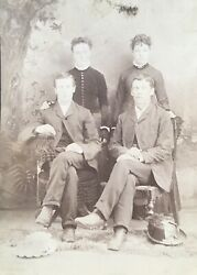 1890s Pretty Young Ladies Two Couples Gentleman Cabinet Card Photo