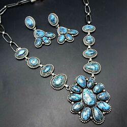Rare Navajo Sterling Silver Gem Grade Egyptian Turquoise Necklace Earrings Set