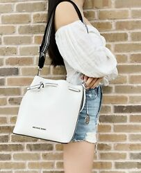 Michael Kors Eden Medium Bucket Bag Shoulder Tote Crossbody Optic White Leather $129.00