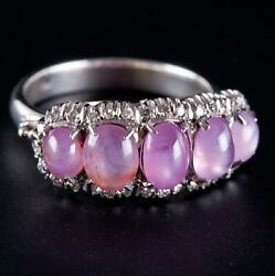 Vintage 1940's 18k White Gold Natural Pink Star Sapphire And Diamond Ring 3.30ctw