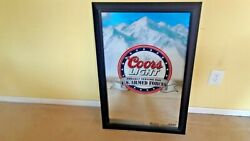 Framed Coors Light Mirror Sign Proudly Serving Our U.s. Armed Forces