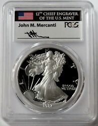 1987 S Silver American Eagle 1 Proof 1 Oz Mercanti Signed Coin Pcgs Pr 70 Dcam