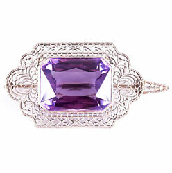Vintage 1920and039s 14k White Gold Amethyst Solitaire Brooch Pendant Combo 17.25ct