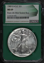 1989 American Silver Eagle From Us Mint Sealed Box Ngc Ms-69 Green Core