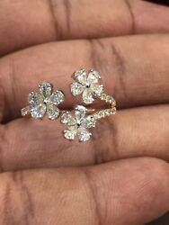 1.34 Cts Pear Round Cut Diamonds 3-flower Anniversary Ring In 585 Fine 14k Gold