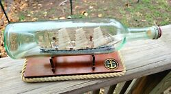 1914-15, Dated And Signed French Ship In Bottle, Folk Art Whimsy Mint Condition