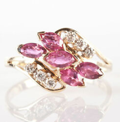 14k Yellow Gold Marquise Cut Ruby And Round Cut Diamond Cocktail Ring 1.32ctw