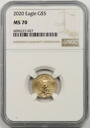 2020 Gold Eagle 5 Ngc Ms 70 Tenth-ounce 1/10 Oz Fine Gold