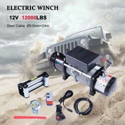 12v 12000lbs Electric Recovery Winch Towing Truck 9.5mm
