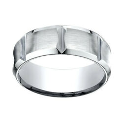 14k White Gold 8mm Comfort Fit Edge Concave W/ Horizontal Cuts Band Ring Sz 13
