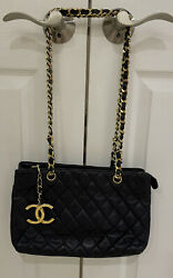 Vintage Navy Blue Classic Quilted Shoulder Tote Bag - Great Condition