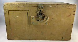 Vintage Ww2 Ammo Box Wooden Crate Dovetail Leather Handle 20.5 X 10.5 X 12