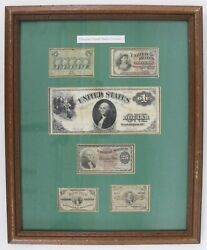 Framed Fractional Currency And Notes Genuine United States Currency