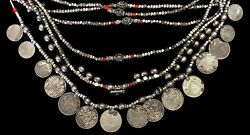 Vintage Silver Saudi Arabia Bedouin Tribal Coins On 12 Strand Beaded Necklace