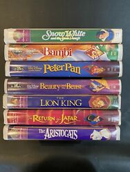 Disney Vhs Lot Of 7 With 3 Black Diamond- Beauty And The Beast +more