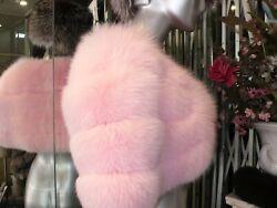 Gorgeous Pink Fox Fur Shawl Shoulder Wrap Stole Deep Shade Of Pale Pink Crystal