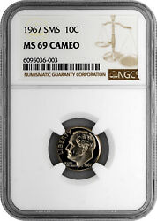 1967 Sms 10c Roosevelt Dime Ngc Ms 69 Cameo