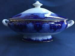 Antique Flow Blue Covered Vegetable Dish Persian Moss Pattern Made In Germany
