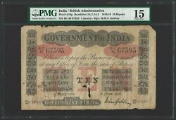 India 10 Rupees 1918, Government, Calcutta - Gubbay, P-a10g, Pmg 15 Choice Fine