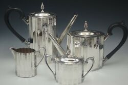 Lunt Silversmiths Paul Revere 4 Pc Set Teapot Coffee Pot Sugar And Creamer