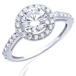 Solid 14k White Gold 2.45 Ct Engagement Ring Round Cut Halo Bridal Band