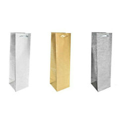 Silver And Gold Glittered Wine Bottle Bags Package Of 12 $10.49