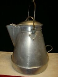 Vintage Aluminum Coffee Pot Camping Wearever, Wood Handle Great Condition