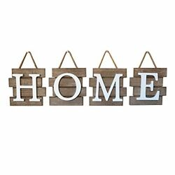 Home Tile Sign Wall Decor, Rustic Primitive Country Decorative Brown/white
