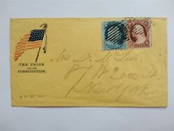 Civil War 1861 18 1c Franklin And 26 Flag Patriotic Cover By Smith And English