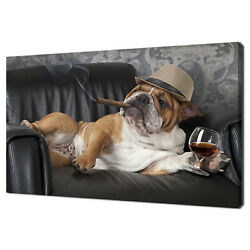 English Bulldog Smoking A Cigar On A Leather Chair Canvas Print Wall Art Picture