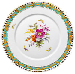 Gourmet Plate Flowers And Insects Decor 73 Kpm Berlin Kurland 1. Wahl 11 1/2in