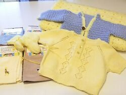 Lot Of 8 Baby Clothes New-vintage Sweaters 31 X 33 Blanket Washcloths Booties