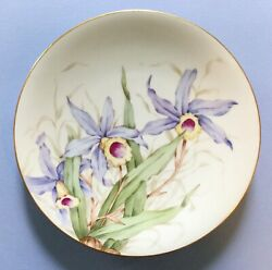 Lovely Vintage M R France M Redon Limoges China Plate Handpainted Orchid