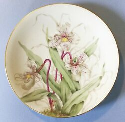 Beautiful Vintage M R France M Redon Limoges China Plate Handpainted Orchid