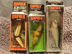 Lot Of 3 New Rapala Fishing Lures Cd-7 Sinking Sr-7 Deep Runner J-7g Jointed