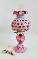 """Fenton Lg Wright Lamp 19.5"""" Cranberry Opalescent Coin Dot Ruby Overlay Hobnail"""