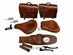 Royal Enfield Classic 500 350 Front And Rear Leather Seat And Bags Belt Grip Lever