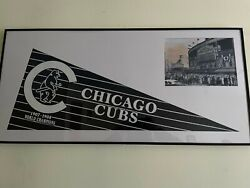 Chicago Cubs 1907-8 World Series Banner W Black And White Wrigley Photo 12x24