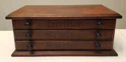Antique Oak Country Store Excelsior Sewing Machine 3 Drawer Spool/needle Cabinet
