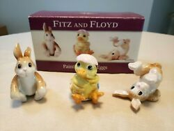 Fitz And Floyd Painting Easter Eggs Bunny Chick Tumblers Figurines Set Of 3