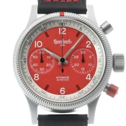 Hanhart Red Chronograph 718.060l.00 Stainless Automatic Winding Watch W/case