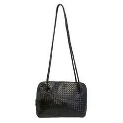 Aspects New York Black Leather Braided Shoulder Tote Women Hand Bag $19.99