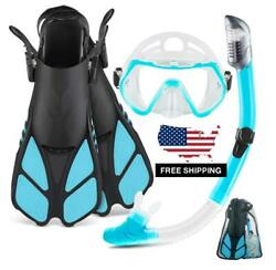 Snorkeling Set Kit For Adults Snorkel Dry Tube Fins Panoramic Mask