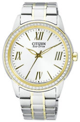 Ladies Citizen Eco-drive Two-tone Crysal Large Face Watch Fe7004-57a