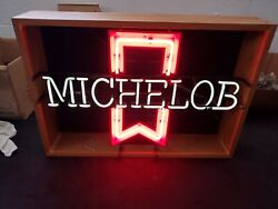 Vintage 1970's Michelob Neon Beer Sign. In Enclosed Wooden Case