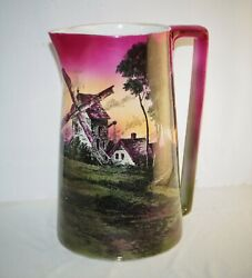 Large Antique Transferware Pitcher Hand Painted Windmill Country Farm Sunset 11