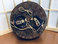 Antique Woven Sewing Basket Cobalt Peking Glass Beads And Coin Tied On The Lid