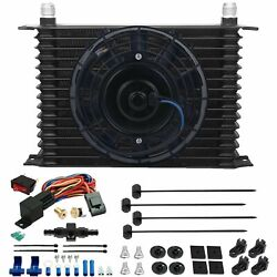 15 Row Engine Trans-mission Oil Cooler Fan 6an Hose 180'f Thermostat Switch Kit