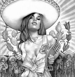 Charra Girl Mouse Lopez Mexican Pin-up Tattoo Sombrero Mancave Canvas Art Print