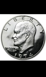 1974 S Eisenhower Dollar Bu Uncirculated Mint State 40 Silver Ike 1 Coin